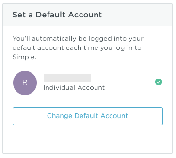 screenshot of Simple finance account, set default account